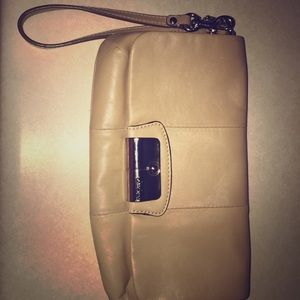 Beige Coach Leather Wristlet